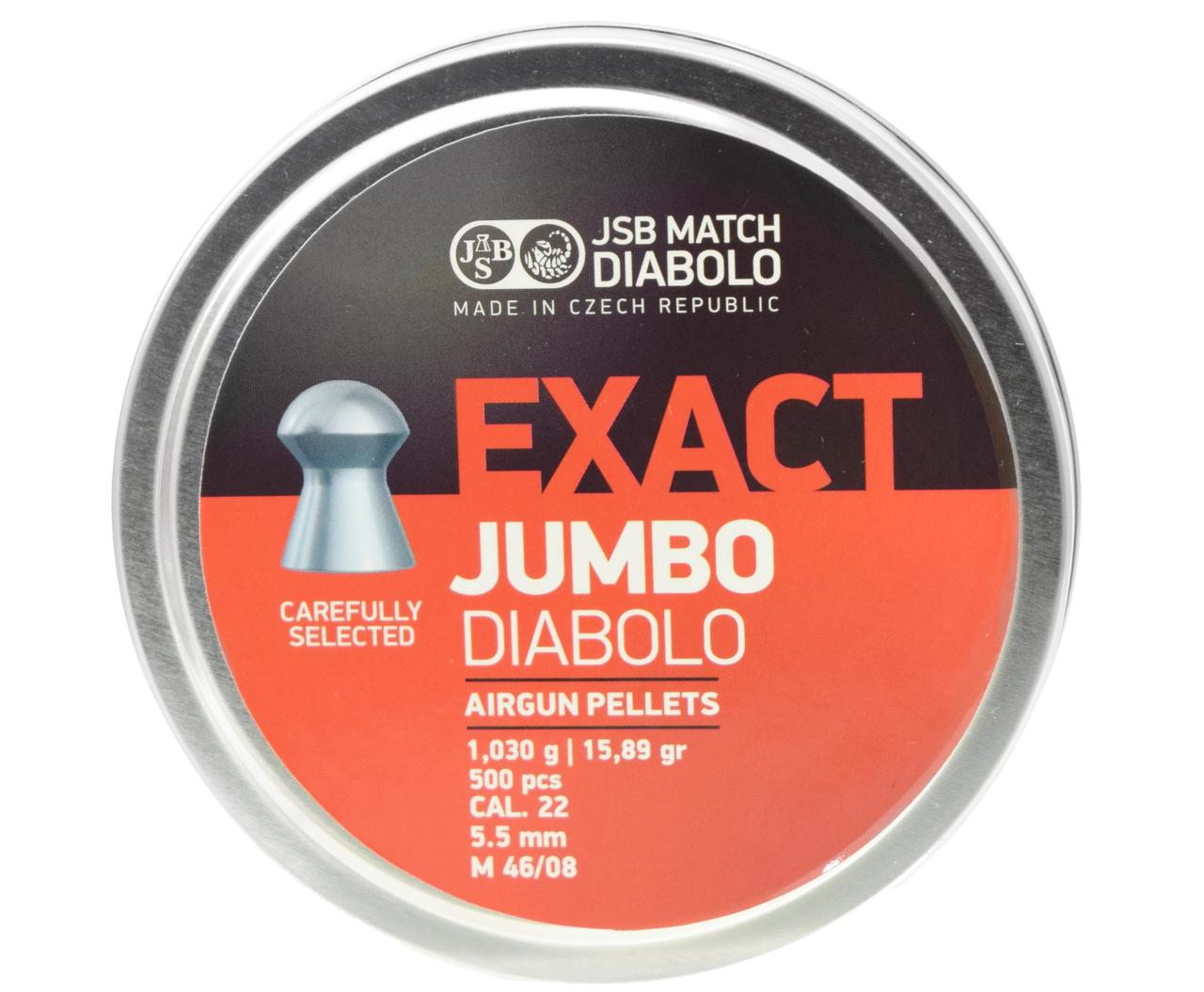Пули пневм JSB Exact Jumbo, 5,5 мм , 1,03 г, 500 шт/уп
