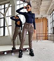 Шикарные кожаные брюки с ремешком, фото 1