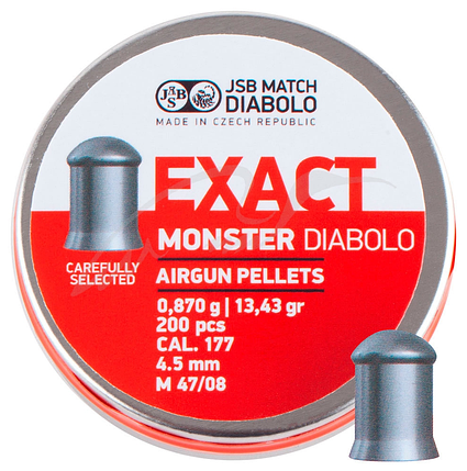 Кулі пневм JSB Diabolo Exact Monster, 4,52 мм , 0,870 гр. (200 шт/уп), фото 2