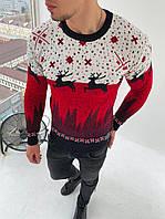 Чоловічий светр з оленями біло-червоний