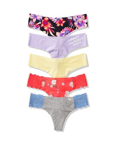 Бесшовные Трусики Тонг Victoria's Secret PINK No Show Thongs, Набор 5 шт