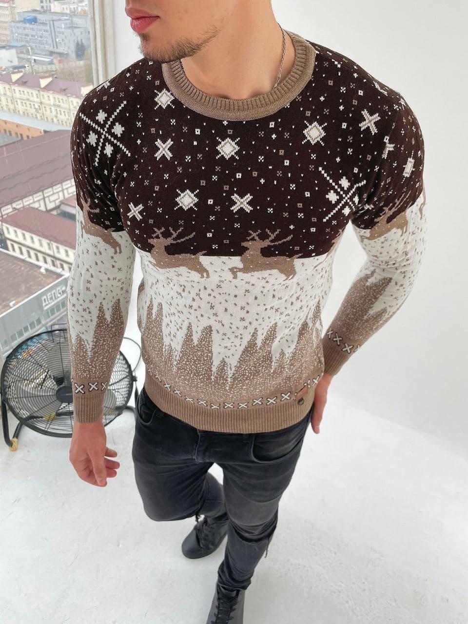 Чоловічий светр з оленями коричнево-білий