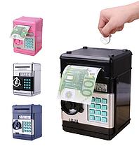 Копилка сейф, детский банкомат с кодовым замком NUMBER BANK Цвет Розовый