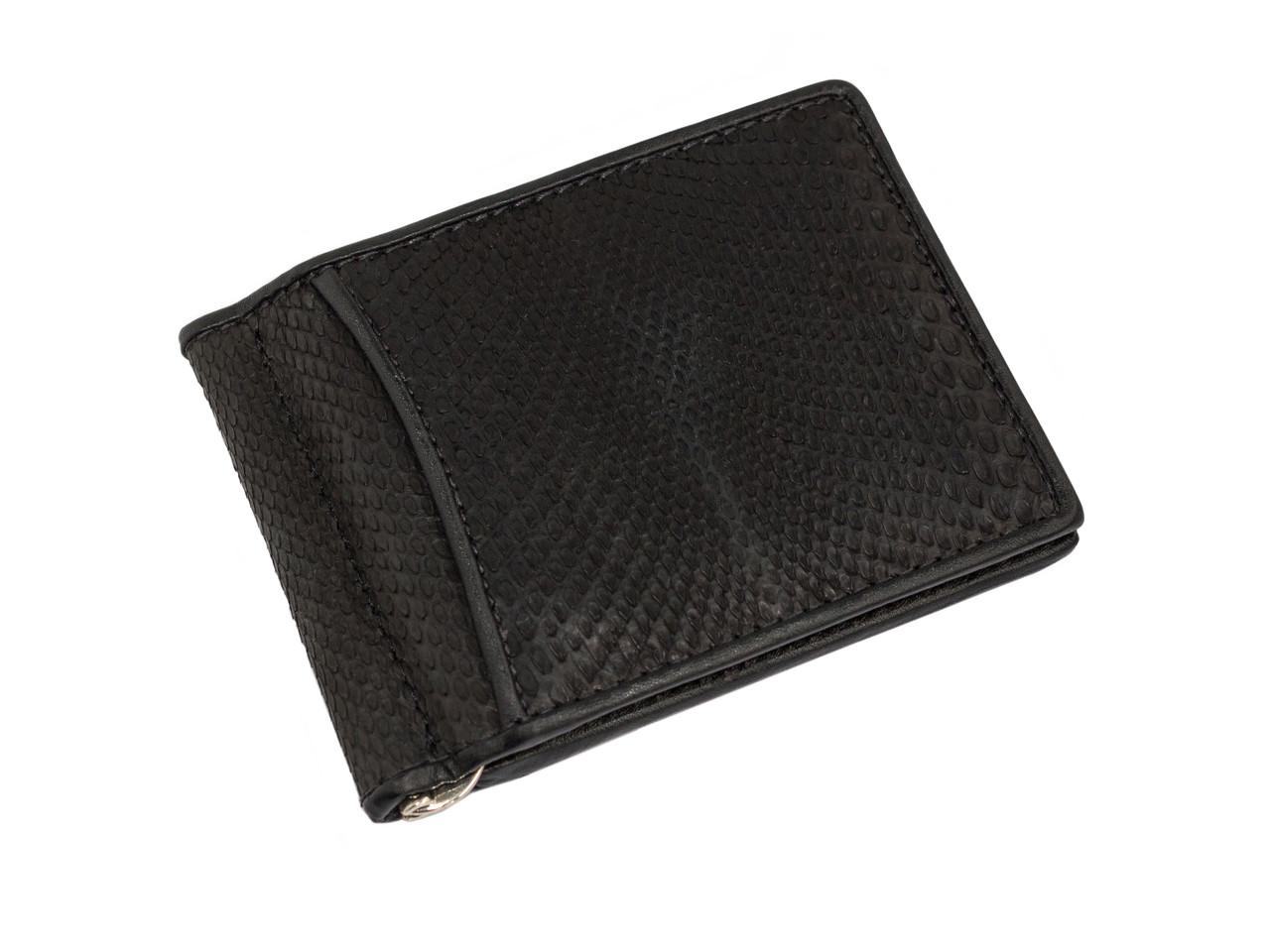 Зажим для денег из кожи питона Ekzotic Leather Черный (snc01_4)