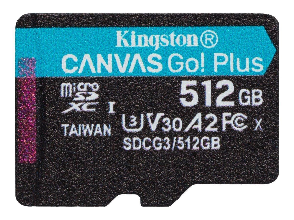 MicroSDXC (UHS-1 U3) Kingston Canvas Go Plus 512Gb class 10 A2 V30 (R170MB/s, W90MB/s)