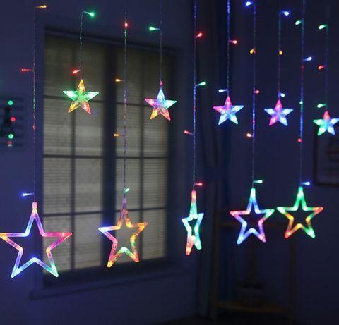 Светодиодная гирлянда штора звездопад 138LED (гирлянда со звездами): длина 2,5м 12 звезд (разные режимы света)