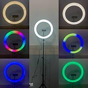 Кольцевая лампа 33 см RGB со штативом на 2м лампа для селфи лампа для тик тока