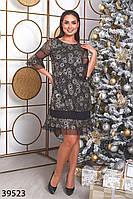 Нарядное прямое платье с узорами из пайеток и воланами на рукаве и подоле с 48 по 54 размер, фото 1