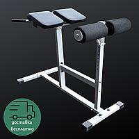 Гиперэкстензия горизонтальная Тренажер для мышц спины и пресса складной регулируемый LET'S GO Черный (S018)