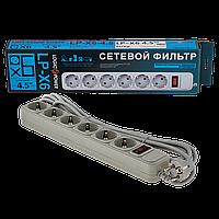 Фильтр-удлинитель сетевой LogicPower LP-X6, 6 розеток, цвет-cерый, 4,5 m
