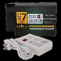 Фильтр-удлинитель сетевой LogicPower LP-X7, 7 розеток, цвет-белый, 2,0 m