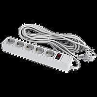 Фильтр-удлинитель сетевой LogicPower LP-X5, 5 розеток, цвет-серый, 10 m (OEM)
