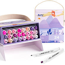 Спиртові маркери Arrtx Alp 24 кольору, фіолетові відтінки