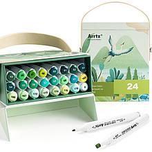 Спиртовые маркеры Arrtx Alp 24 цвета, зеленые оттенки