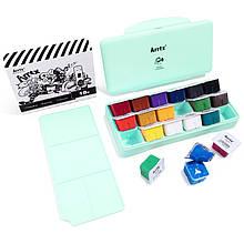 Гуаш Arrtx 18 кольорів по 30 мл (AJG-001), м'ятно-зелена коробка