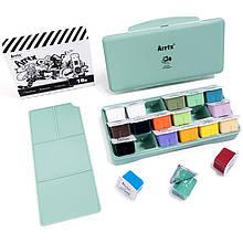 Гуаш Arrtx 18 кольорів по 30 мл (AJG-001), зелена коробка