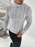 Гольф мужской теплый с подворотом под горло светло-серый Турция. Живое фото (мужской свитер), фото 2