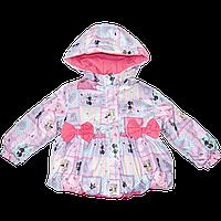 Детская весенняя осенняя куртка р 92-98 1,5-2 года на флисе и холлофайбере для девочки 2064 Розовый