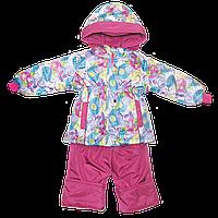 Детский 98 2-3 года весенний осенний комбинезон штаны на шлейках и куртка на флисе для девочки 2607 Малиновый