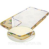 Детский махровый влагонепроницаемый наматрасник для детского матраса в кроватку 120х60 3736 Белый А