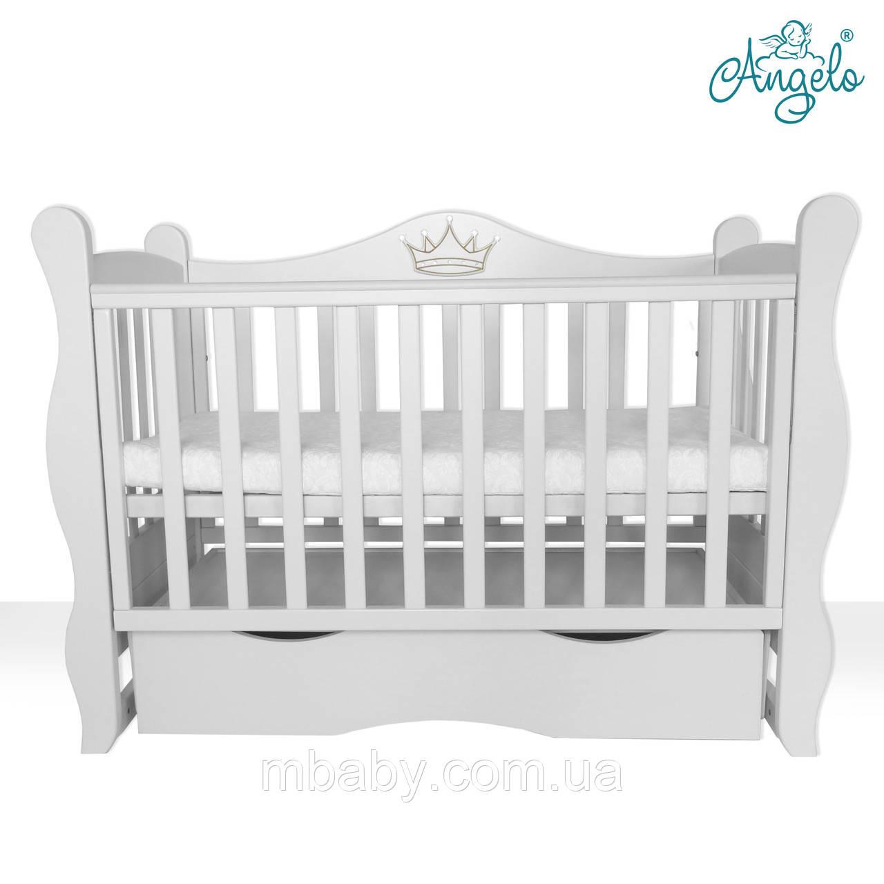 Детская кроватка L 10 корона  (Белый цвет)