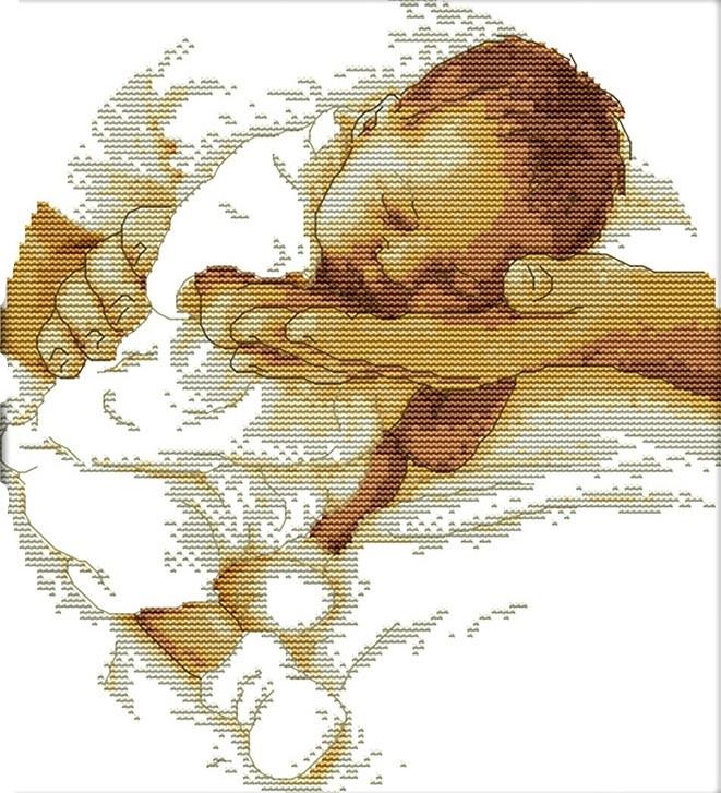 Набор для вышивания крестом 29х32 Младенец Joy Sunday R361