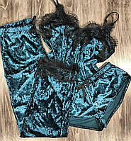 Пижама тройка, комплект с кружевом велюровый.