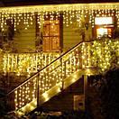 Уличная новогодняя гирлянда бахрома желтого свечения Xmas 120 LED 3,3*0,7 м (белый провод), фото 2
