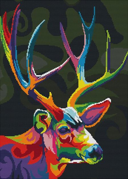 Набір для вишивання хрестом 50х66 Різнобарвний олень Joy Sunday DA409