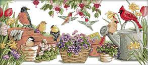 Набор для вышивания крестом 69х39 Птички на вазонах Joy Sunday D108