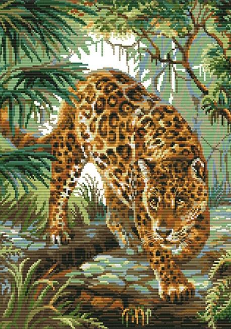Набор для вышивания крестом 48х61 Леопард в джунглях Joy Sunday DA266