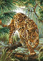 Набор для вышивания крестом 48х61 Леопард в джунглях Joy Sunday DA266, фото 1