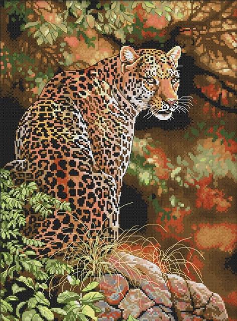 Набір для вишивання хрестом 38х49 Леопард Joy Sunday D773