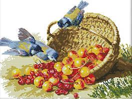Набор для вышивания крестом 52х42 Птицы и черешня Joy Sunday D148
