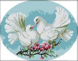 Набор для вышивания крестом 36х30 Два голубя Joy Sunday D227