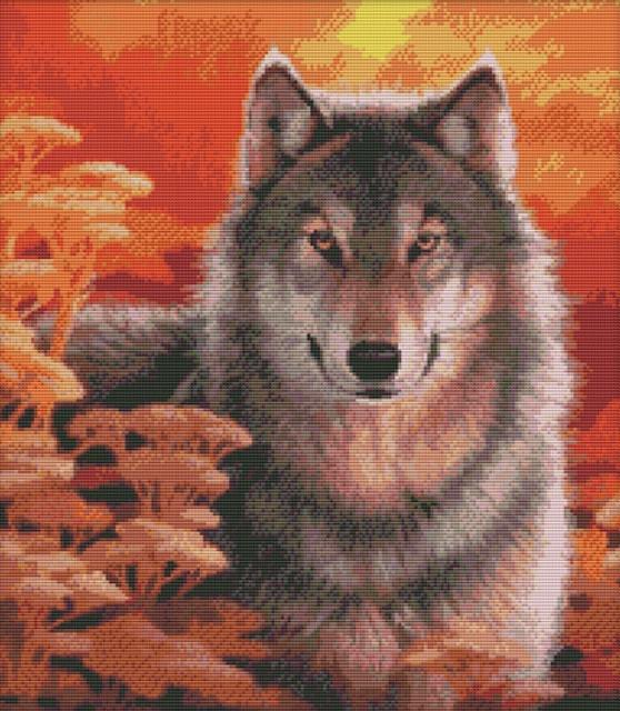 Набор для вышивания крестом 44х49 Осенний волк Joy Sunday D310