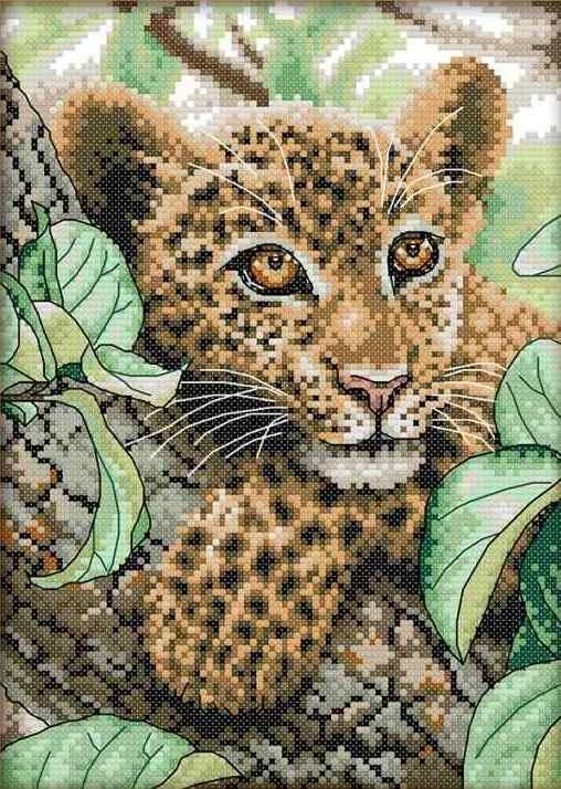 Набір для вишивання хрестом 21х30 Леопард Joy Sunday DA115