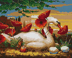 Набор для вышивания крестом 47х40 Лебедь и маки Joy Sunday DA361