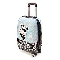 Малый чемодан с ярким рисунком Worldline 809 Zebra, фото 1