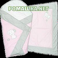 Летний конверт-одеяло 75х75 для выписки из роддома верх и подкладка хлопок внутри синтепон 3077 Розовый 2