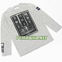 Детский реглан (футболка с длинным рукавом) р.110 для мальчика ткань 95% хлопок 5% вискоза 1076 Серый