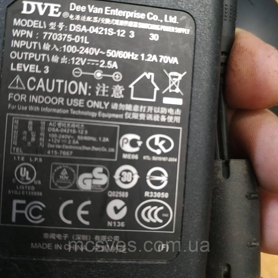 Блок питания DVE DC 12v 2.5a (штекер 5.5/2.1мм) (DSA-0421S-12 3 30) ORIGINAL Б/У