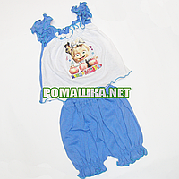 Детский летний костюм р. 74 для девочки тонкий ткань КУЛИР 100% хлопок 2195 Голубой