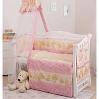 Комплект в кроватку для новорожденных 8 элементов Twins Comfort С-013 Пушистые мишки, розовый/белый