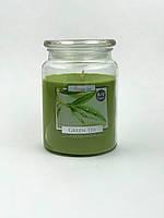 Свеча ароматизированная в стеклянном стакане с крышкой, Bispol / Green Tea, 100 часов горения
