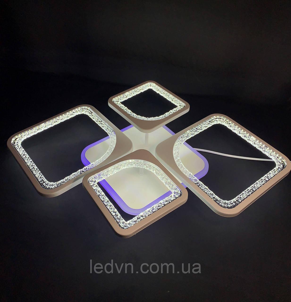 Светодиодная  люстра на 2+2 квадрата белая  65 ватт
