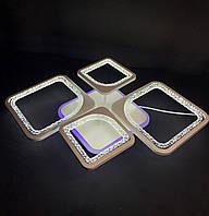 Светодиодная  люстра на 2+2 квадрата белая  65 ватт, фото 1