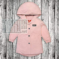 Детская 80 (74) 9-12 мес удлинённая ветровка куртка для девочки малышей c капюшоном тонкая лето 6065 Розовый