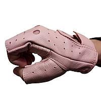 Жіночі автомобільні шкіряні рукавички без пальців, фото 1