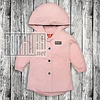 Детская 86 (80) 1-1,5 года удлинённая ветровка куртка с капюшоном для девочки малышей хлопок 6065 Розовый